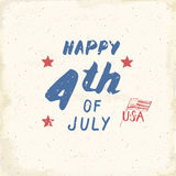 Happy Independence Day, fourth of july, Vintage USA greeting card, United States of America celebration. Hand lettering, american Royalty Free Stock Image