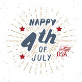 Happy Independence Day, fourth of july, Vintage USA greeting card, United States of America celebration. Hand lettering, american Stock Images