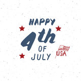 Happy Independence Day, fourth of july, Vintage USA greeting card, United States of America celebration. Hand lettering, american Stock Photography