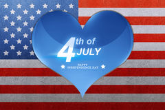 Happy Independence day greeting on blue heart Stock Images