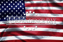Happy Independence Day greeting card, National american holiday. Independence Day background remember and honor. Word Independence Day on american flag royalty free stock photo