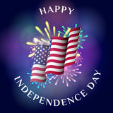 Happy Independence Day. Greeting card with waving flag of USA, fireworks and flashes. Vector illustration Stock Photo