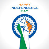 Happy independence day greeting. Illustration of hand fist in Indian tricolor concept Royalty Free Stock Photo
