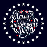 Happy Independence Day hand drawn lettering design. Royalty free stock illustration perfect for advertising, poster, announcement, invitation, party, greeting Stock Image