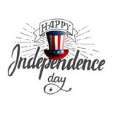 Happy Independence Day. Hand drawn lettering retro style design for advertising, poster, invitation, party, greeting. Card, bar, restaurant, menu etc. Stock Royalty Free Stock Photography
