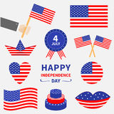 Happy independence day icon set. United states of America. 4th of July. Waving, crossed american flag, heart, round, cake, badge w Royalty Free Stock Photos