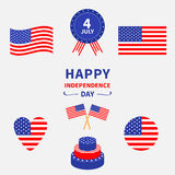 Happy independence day icon set. United states of America. 4th of July. Waving, crossed american flag, heart, round circle shape, Royalty Free Stock Photos