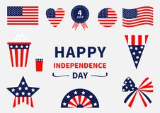 Happy independence day icon set. United states of America. 4th of July. Waving, crossed american flag, heart, round shape, badge w. Ith ribbons popcorn, soda vector illustration