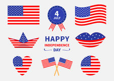 Happy independence day icon set. United states of America. 4th of July. Waving, crossed american flag, heart, round shape, cake, b Stock Image