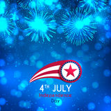 Happy Independence Day illustration. Color banner with fireworks and lights on the blue background. American Independence Day celebration backdrop with effect Stock Images