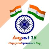 Happy Independence Day India. August 15.Greeting card. Vector. Happy Independence Day India. Greeting card. Vector and illustration. Isolated in orange,white Stock Photos