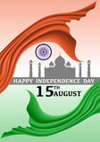Happy Independence day India 15 August vector. Illustration Stock Images