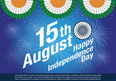 Happy Independence Day India Banner. Dharma Chakra,text and firework Royalty Free Stock Photo