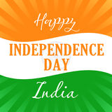 Happy Independence Day India flag light stripes. Happy Independence Day India text  vector concept 15th August on the background with national flag colors Stock Image