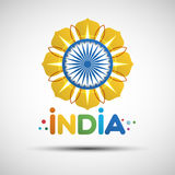 Happy Independence Day India greeting card. Indian Independence Day greeting card. 15th of august. Vector illustration of abstract golden flower for your design Stock Photo