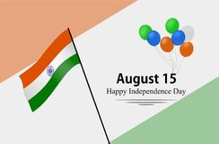 Happy Independence Day of India. 15th august .Greeting card. Vectors. Happy Independence Day India. Greeting card. Vector and illustration. Isolated in white Stock Illustration