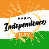 Happy Independence Day India heart and beams greeting card. Happy Independence Day India text vector concept 15th August on the background with national flag Royalty Free Stock Image