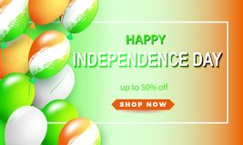 Happy Independence Day of India. Three-colored balls on a white background.Shape for sale banner .Vector illustration. Happy Independence Day of India. Three vector illustration