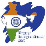 Happy Independence day India, Vector illustration, Flyer design for 15th August. Map of india Royalty Free Stock Photos
