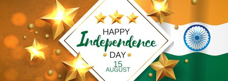 Happy Independence day India, Vector illustration, Flyer design for 15th August. Happy Independence day India, Vector illustration, Flyer design for 15th August Stock Illustration