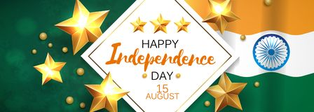 Happy Independence day India, Vector illustration, Flyer design for 15th August. Happy Independence day India, Vector illustration, Flyer design for 15th August royalty free illustration
