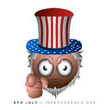 Happy independence day. Isolated emote with a traditional hat, Independence day vector illustration Royalty Free Stock Images