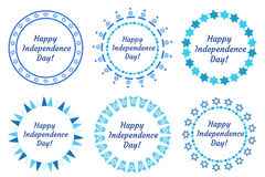 Happy Independence Day of Israel set of round frames with space for text. Jewish Holidays Border for your design. Vector Stock Images