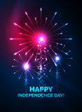 Happy Independence Day 4 july fireworks design. Glowing lights in the dark. Celebration sale poster Royalty Free Stock Photography