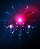 Happy Independence Day 4 july fireworks design. Glowing lights in the dark. Celebration sale poster Stock Image