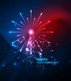 Happy Independence Day 4 july fireworks design. Glowing lights in the dark. Celebration sale poster vector illustration
