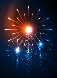Happy Independence Day 4 july fireworks design. Glowing lights in the dark. Celebration sale poster Royalty Free Stock Photo