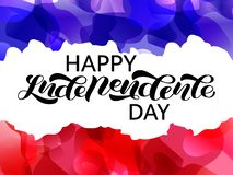 Happy independence Day lettering, Fourteen of July. Vector illustration with French flag. Happy independence Day lettering,  Vector illustration with French flag royalty free illustration