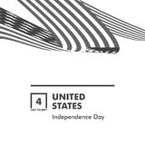 Happy Independence Day. Monochrome Curly twisted Flag of USA set. July Fourth United States federal holiday 3d vector. Happy Independence Day. Blue and Red color vector illustration