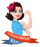 Happy Independence Day. Patriotic woman. Cartoon character for greeting card, poster. USA Independence Day. Vector illustration Royalty Free Stock Photography