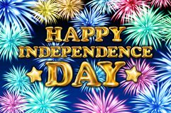 Happy Independence Day poster design, banner with fireworks and confetti gold balloon vector. Art Stock Photo
