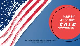 Happy Independence Day Sale. Vector illustration. Happy 4th of July Sale horizontal banner. Independence Day card. Template for holiday design. Vector Royalty Free Illustration