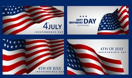 Happy Independence Day! Set of American banners for 4th of July. Theme stock illustration