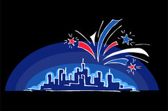 Happy Independence Day. Skyline on dark night sky with the fireworks - vector design. Hand drawn abstract skyscrapers and fireworks. Fireworks over night Royalty Free Stock Photo