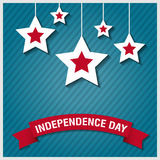 Happy independence day star card with firework, vector eps10 Royalty Free Stock Photo