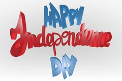 Happy independence day text lettering ,  independence day palette, 3d render. Happy independence day text 3d lettering,  shining effect on gradient background Stock Image