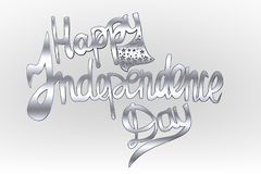 Happy independence day text lettering ,  independence day palette, effect with stars Stock Photos