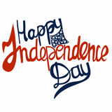 Happy independence day text lettering vector,  independence day palette, effect with stars. For printing on cards, web site, holiday decoration Stock Photography