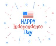Happy Independence Day text with united states of america flag colors. Vector retro background label for Independence day of USA i. N july 4. Cheerful design Stock Photos