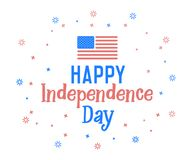 Happy Independence Day text with united states of america flag colors. Vector retro background label for Independence day of USA. In july 4. Cheerful design Stock Photography