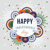 Happy Independence day, 15th August national holiday. Festive greeting card, invitation with fireworks, wheels and. Bunting party decorations in Indian flag vector illustration