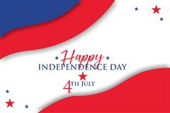 Happy independence day 4th july 2018. Background, wallpaper, independence day of america, red, blue, white, happy, 4th july. Poster or background or postcard for royalty free illustration
