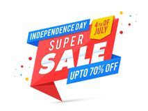 Happy Independence Day, 4th of July celebration concept. with 70. % off Offers vector illustration