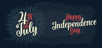Happy Independence Day, 4th of July hand lettering inscription. Happy Independence Day and 4th of July hand lettering inscription with rays. Vintage hand drawn vector illustration