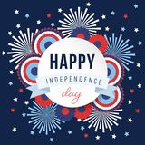 Happy Independence day, 4th July national holiday. Festive greeting card, invitation with fireworks and bunting party. Decorations in USA flag colors, vector Stock Photo