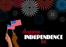 Happy Independence Day 4th of July placard, poster or greeting card. Text, fireworks and hands with american flags isolated on black horizontal banner. Vector Vector Illustration